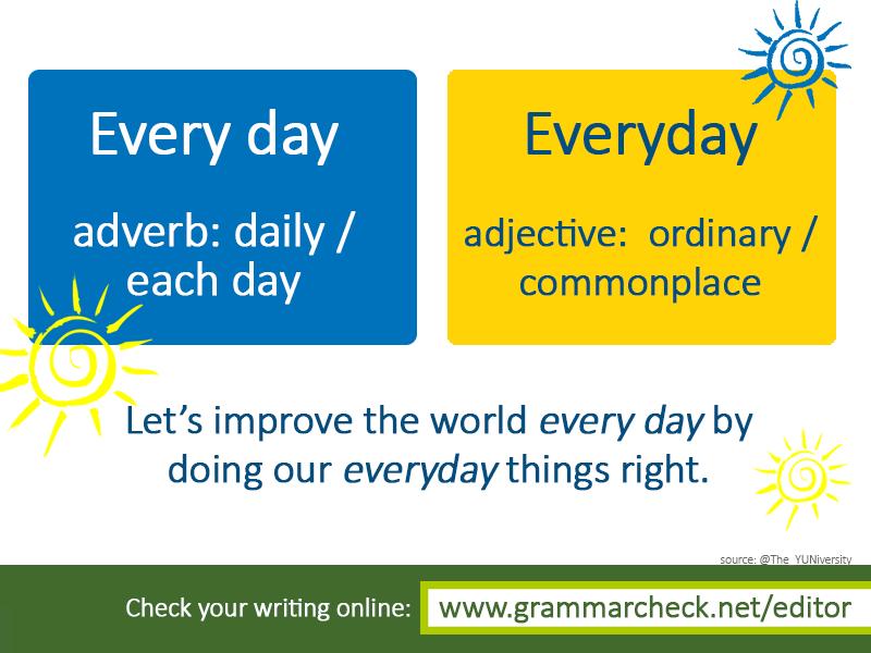Every day vs Everyday   Ingles, Idiomas