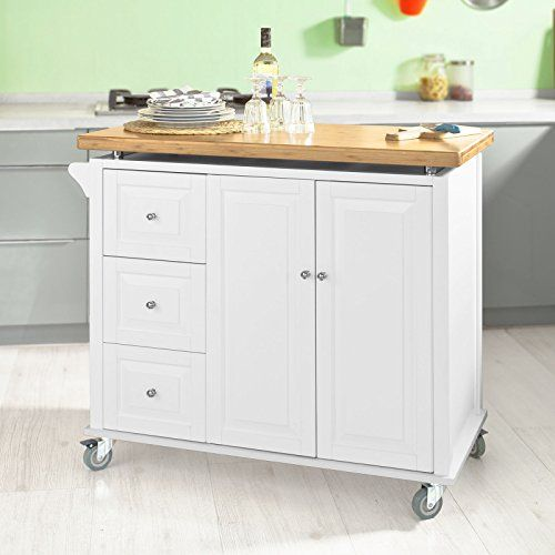SoBuy® Large Kitchen Island Trolley Cart,Storage Cabinet,Bamboo Top,FKW30-WN,UK