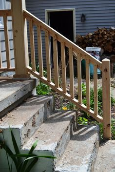 Image result for how to attach wood railing to brick steps ...