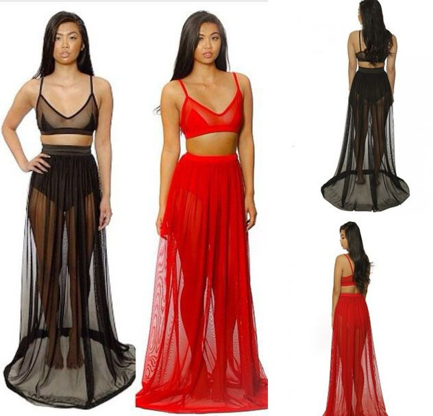 women crop top and chiffon maxi long floor sheer skirt female ...