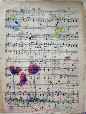 Bella Cosa Art watercolor on repurposed vintage sheet music available in my Etsy shop https://www.etsy.com/listing/259369223/watercolor-painting-on-vintage-upcycled
