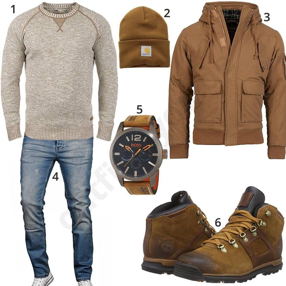 Herrenoutfit mit beigem Pullover, brauner Jacke und Stiefeln