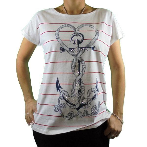 Camiseta blanca rayas estampado ancla (con imágenes) - Camisetas blancas, Camisetas, Ropa para niñas