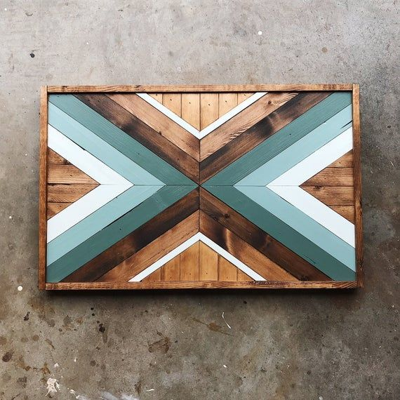 Geometric Wood Wall Art   Wood Mosaic   Reclaimed Wall Art   Modern Wall Art   Shades of Teal Wall Art