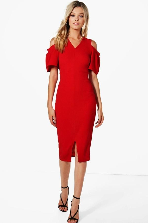 2bd3323e6d93d Annabelle Cold Shoulder Frill Detail Midi Dress | Products | Red ...
