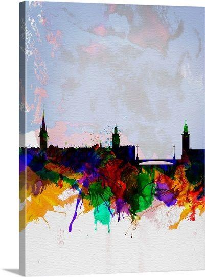 Stockholm Watercolor Skyline Art Prints Online Art Painting Prints