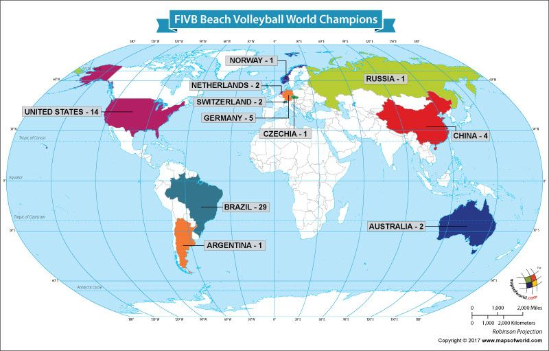 Winners Of The Fivb Beach Volleyball World Championships Our World Motorcycle Racing World Championship World Map Showing Countries