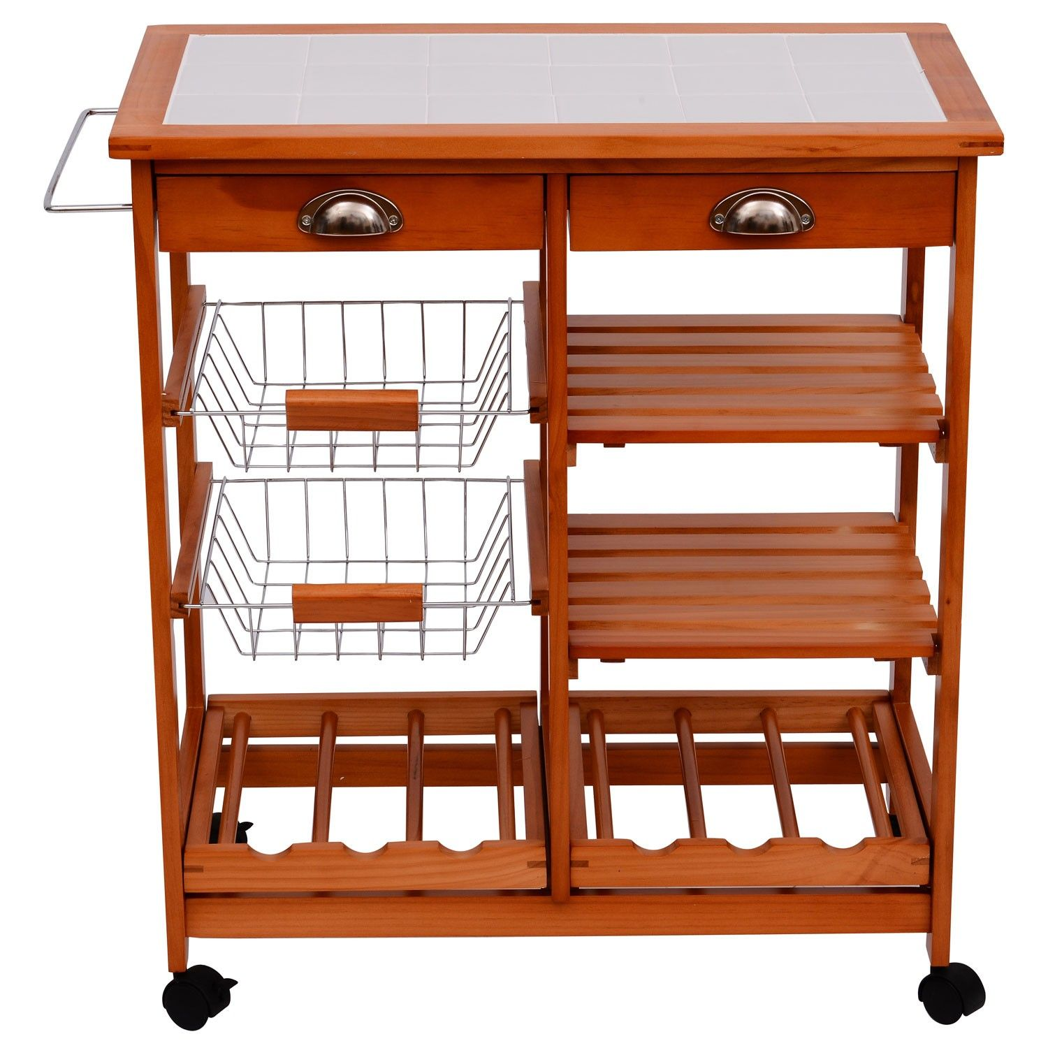 Hom Wooden Kitchen Trolley Cart Drawers Wood Fruit Ve able