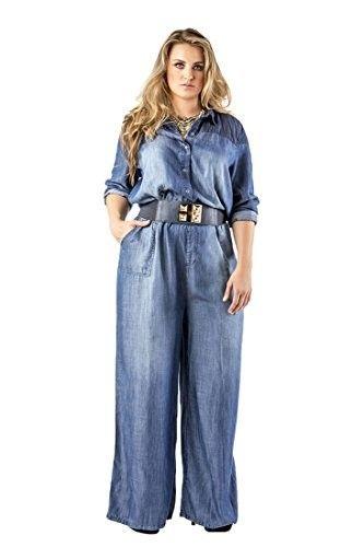 df0ed569d63 Standards   Practices Women s Plus Size Contrast Shoulder Blue Tencel  Jumpsuit Size 1X