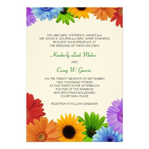 Rainbow Bouquet Wedding Personalized Invitation