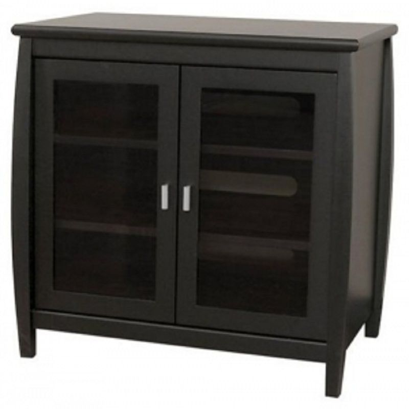 Captivating Tech Craft Veneto Series 32 Inch Rounded TV Cabinet (Black) SWD30B