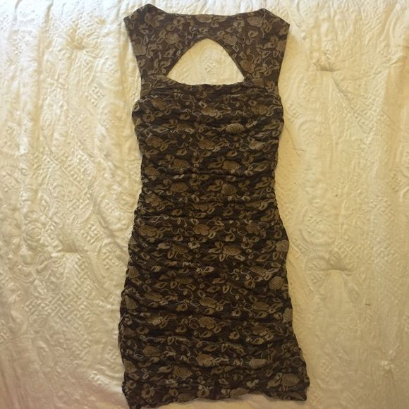 Lace body con dress Beautiful Sheer lace dress with black fabric underneath, high back with a triangle cut out and thick straps Free People Dresses