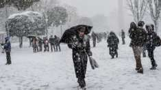 People walk during a snowfall in Istanbul, Turkey. Photo: 8 January 2017