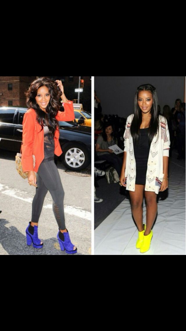 Angela Simmons! Fashion inspiration neon colors bold colors shoes glam