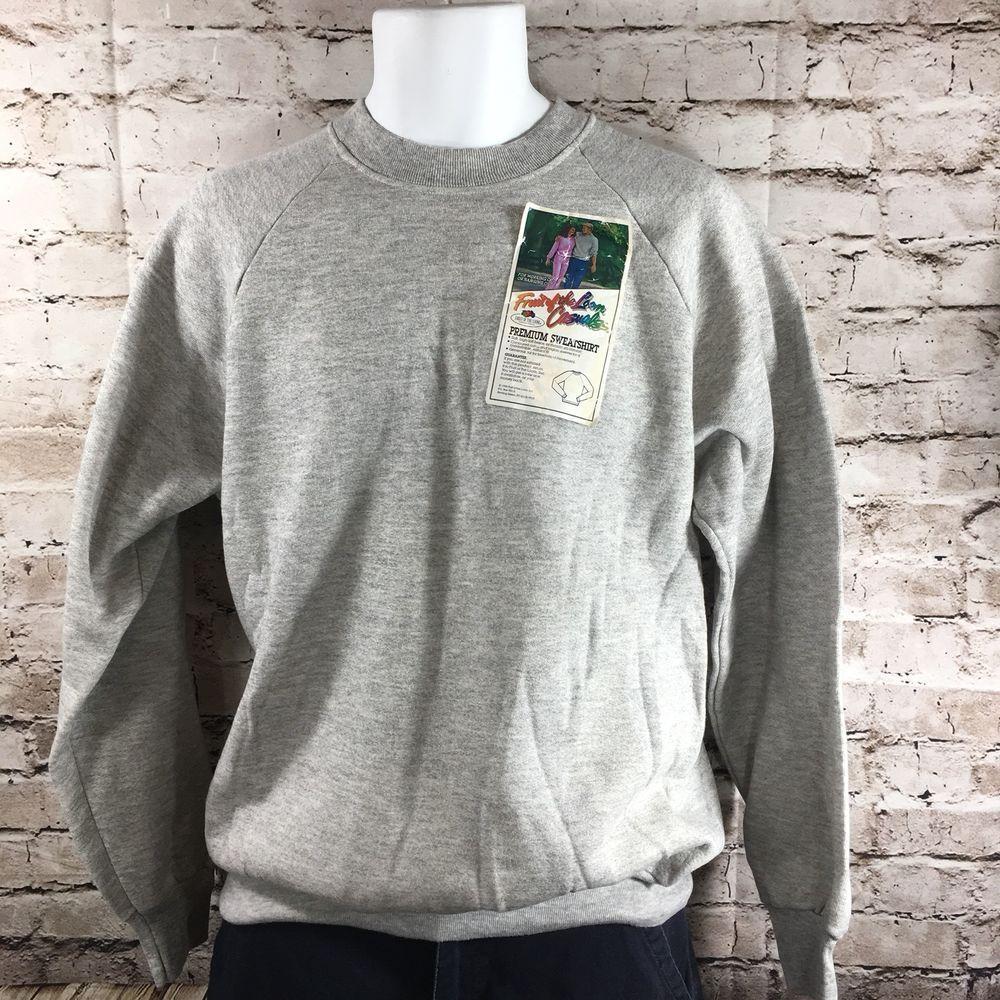 VTG Fruit Of The Loom 50/50 Raglan Sweatshirt NWT Gray