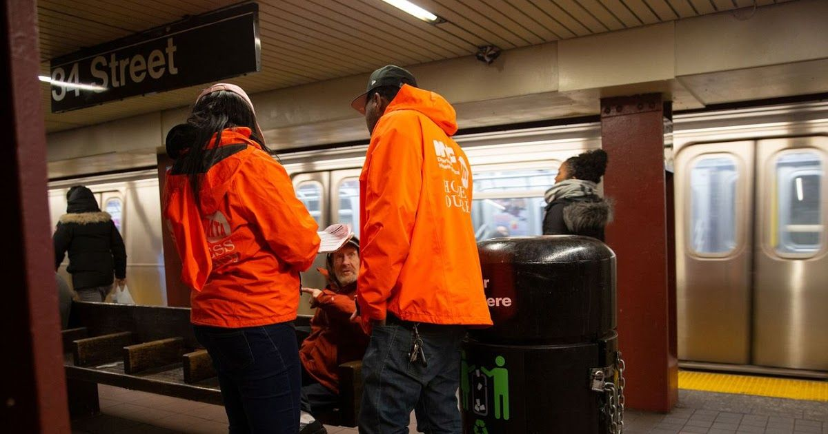 Homeless Outreach Workers Speak With A Man At Herald Square Dec 20 2019 Ben Fractenberg The City A Nonprofit Organizat Homeless Services Outreach Homeless