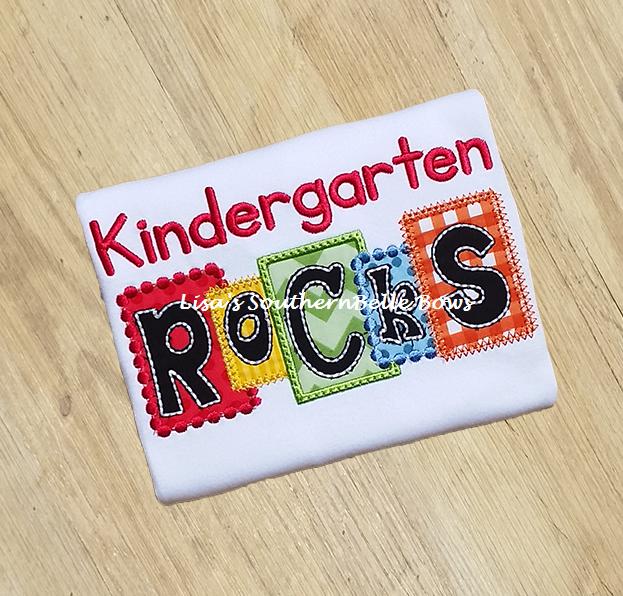 Kindergarten ROCKS, Back to School Block TShirt- New Item