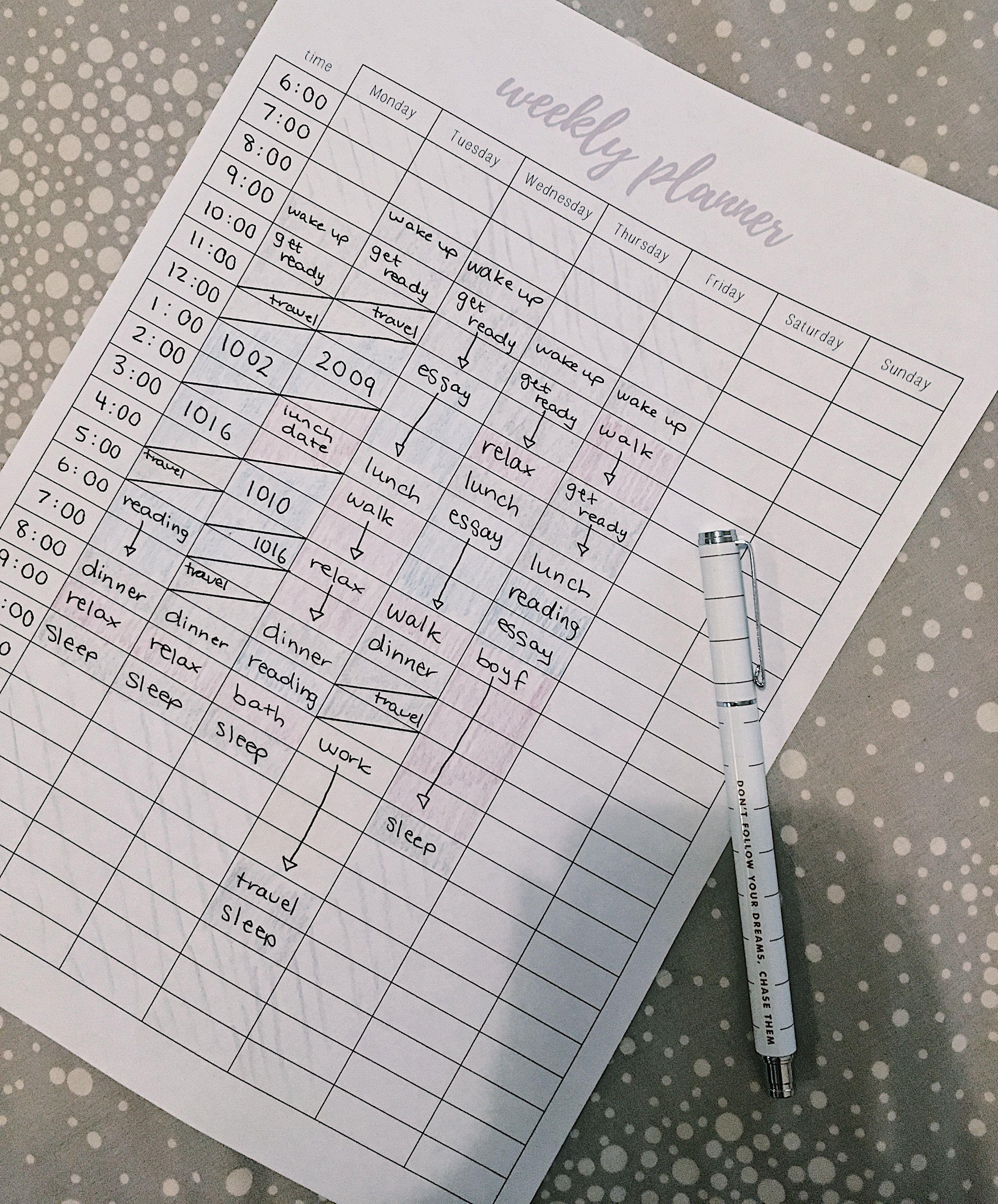 Free 24 Hour Weekly Planner Printable