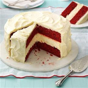 Cheesecake Layered Red Velvet Cake Recipe -I love both red velvet cake and cheesecake. So why not combine them into one stunning dessert? It's best when served chilled, right out of the fridge. —Melissa Gaines, Knoxville, Tennessee