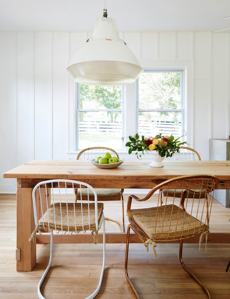 White And Wood Farmhouse Dining Room