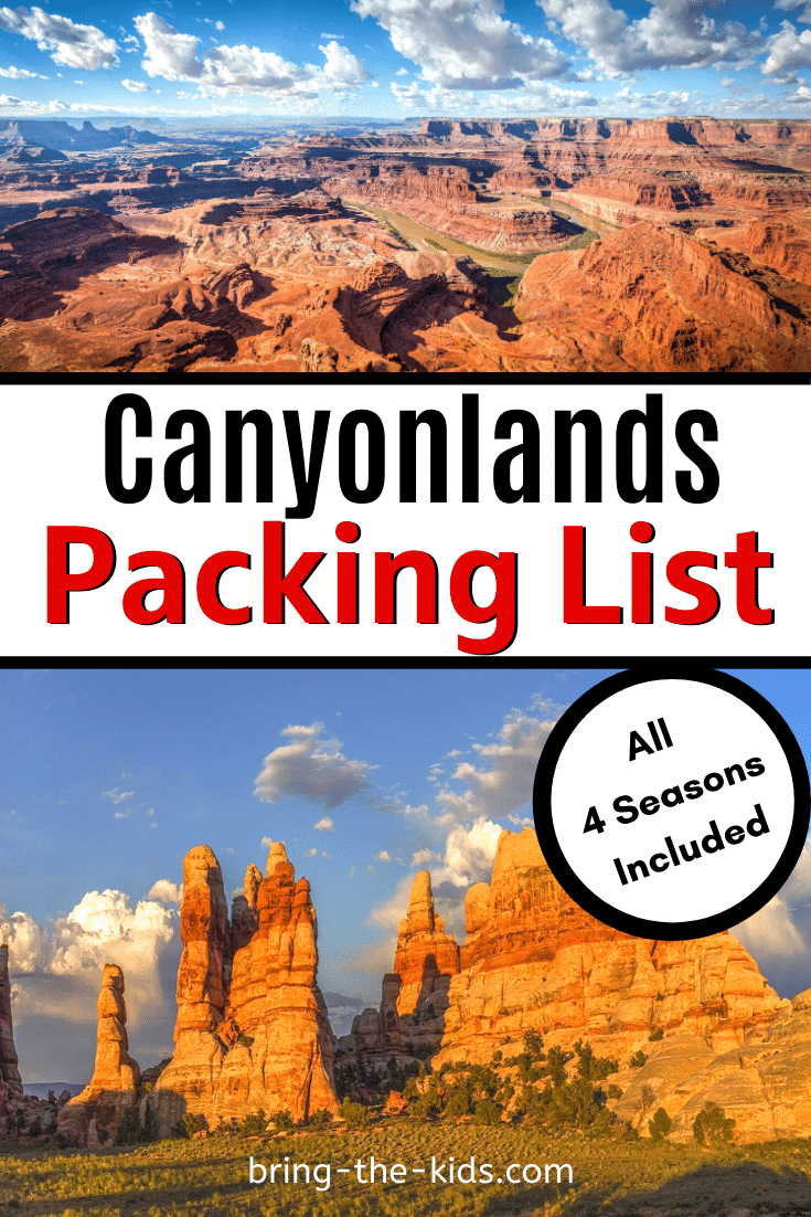 Not sure what to bring when you go to Canyonlands National Park for your next trip? We teach you what to pack for Canyonlands in winter, spring, summer, and fall and everything you need to pack for a great vacation to nearby Moab and Arches National Park. A printable packing checklist is included so you don't forget any adventure essentials. #adventuretravel #outdooradventure #desert #nationalpark