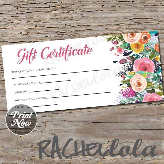 Printable Floral Gift Certificate Template Photography Etsy Gift Certificate Template Printable Gift Certificate Salon Gift Card