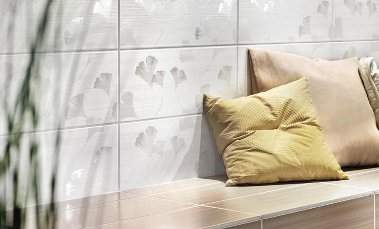 Lima K-LIM1301 Ginkgo Dekor weiß nougat 20x50 Wandfliese