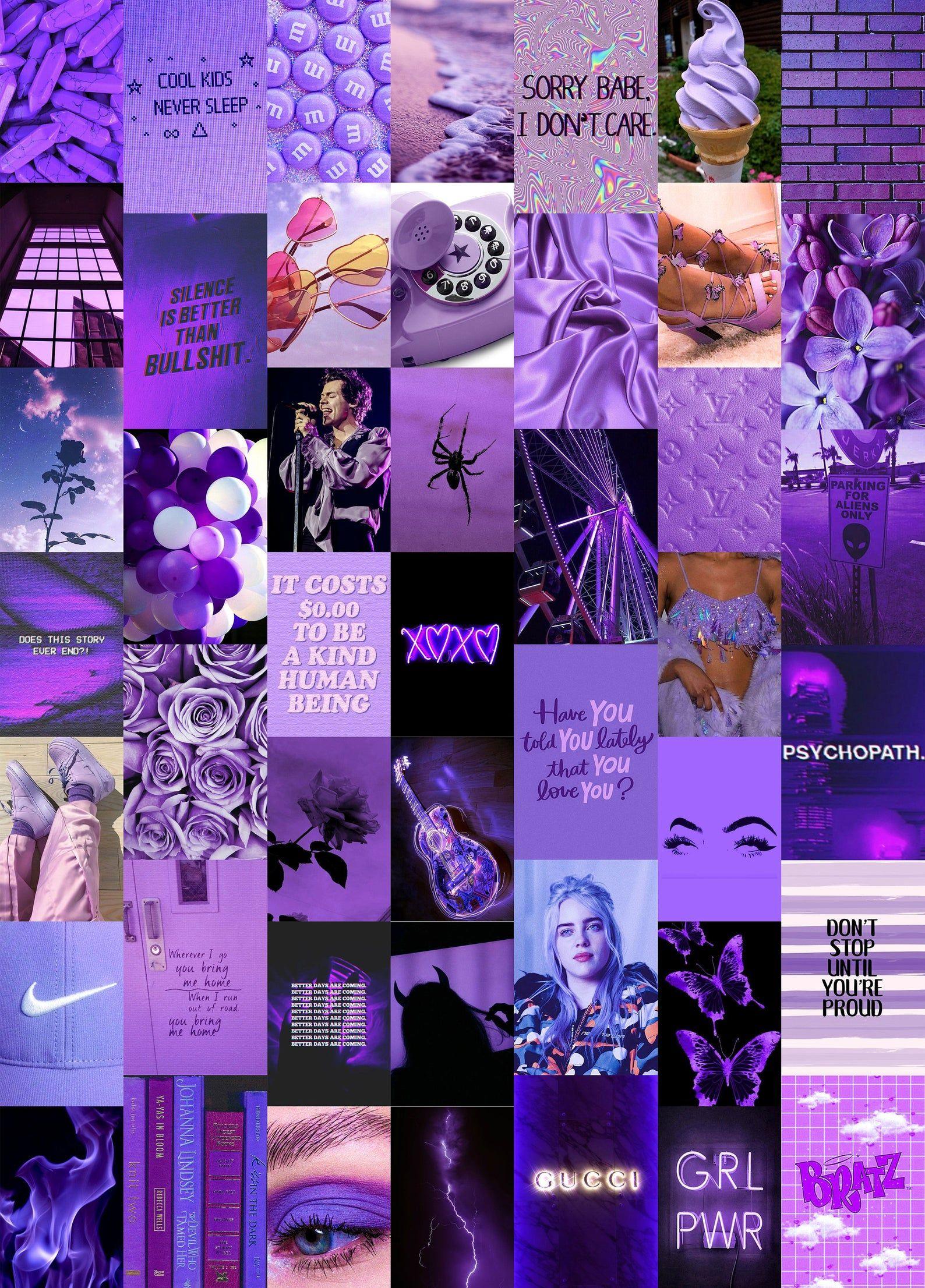 Moody Purple Wall Collage Kit, Purple Aesthetic Co