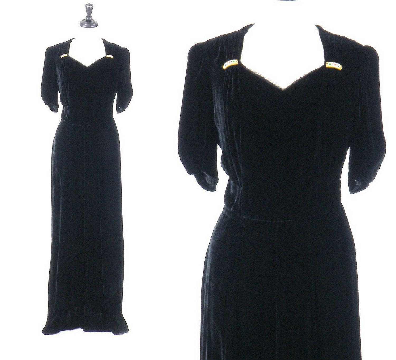 Vintage s evening dress art deco s gown silk velvet evening