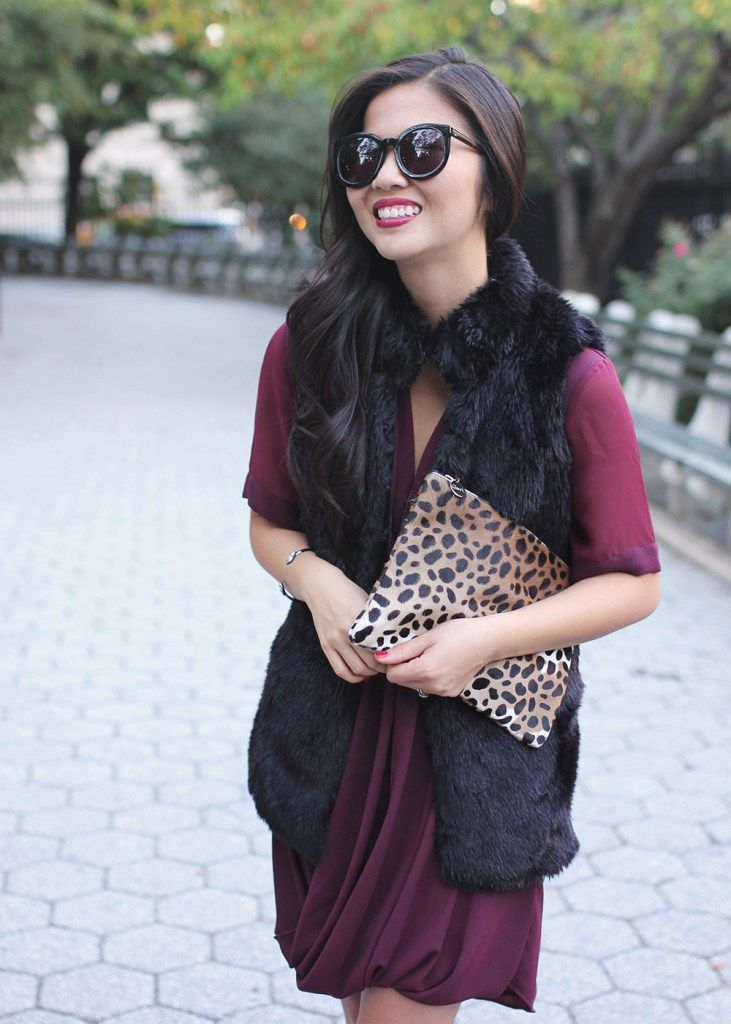 Faux Fur Vest, Leopard Clutch, Maroon Dress | STYLE | Winter Fashion ...