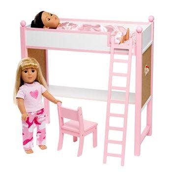 Our loft bed.  http://www.dollsclothes-emilyrose.com/Bunk-Bed-and-Desk-Combo-Set-p/ins1032.htm  $49.99