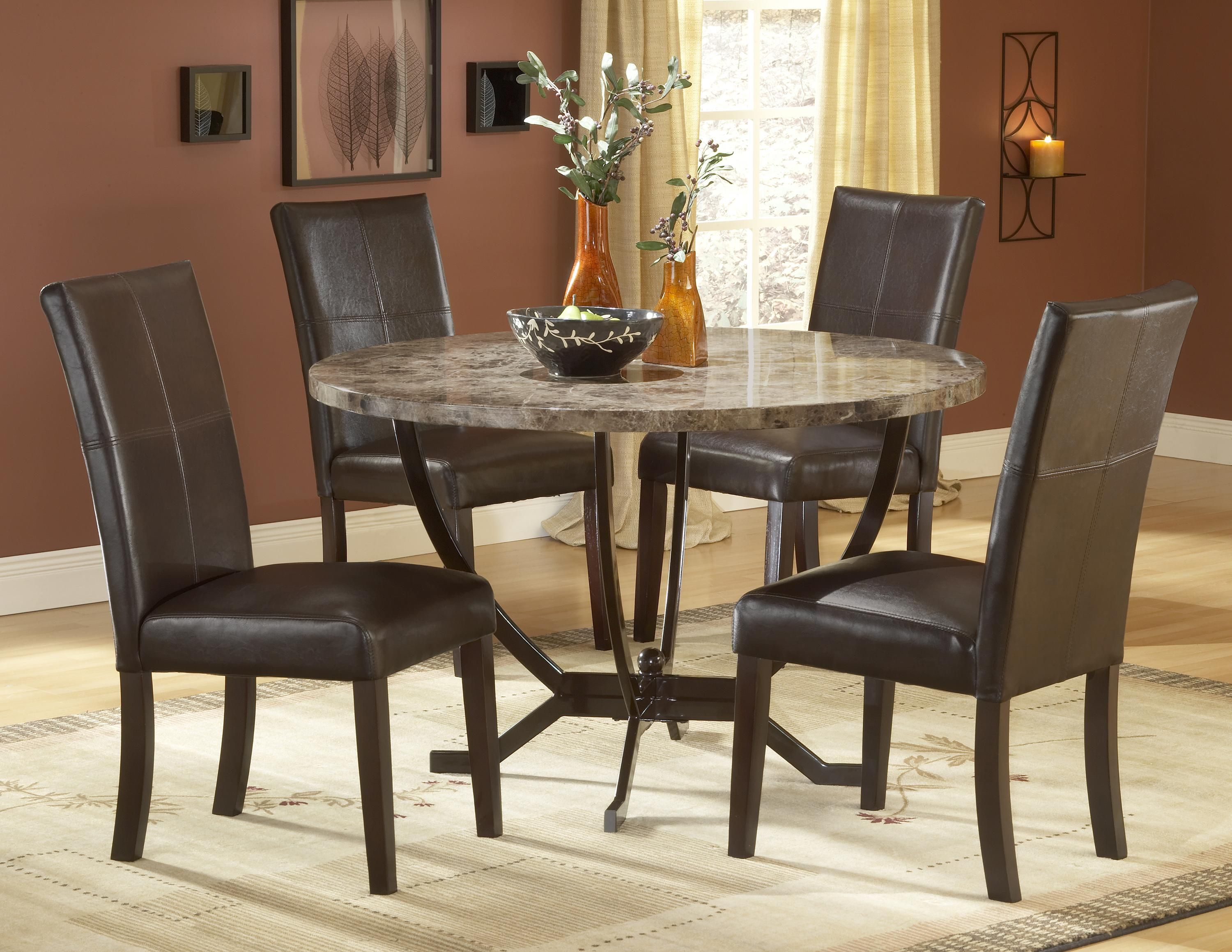 10 Small Dinette Set Design Small Round Dinette Set With 4 Dark Brown Chairs And Large Rug H Round Dining Table Round Dining Table Sets Round Dining Room