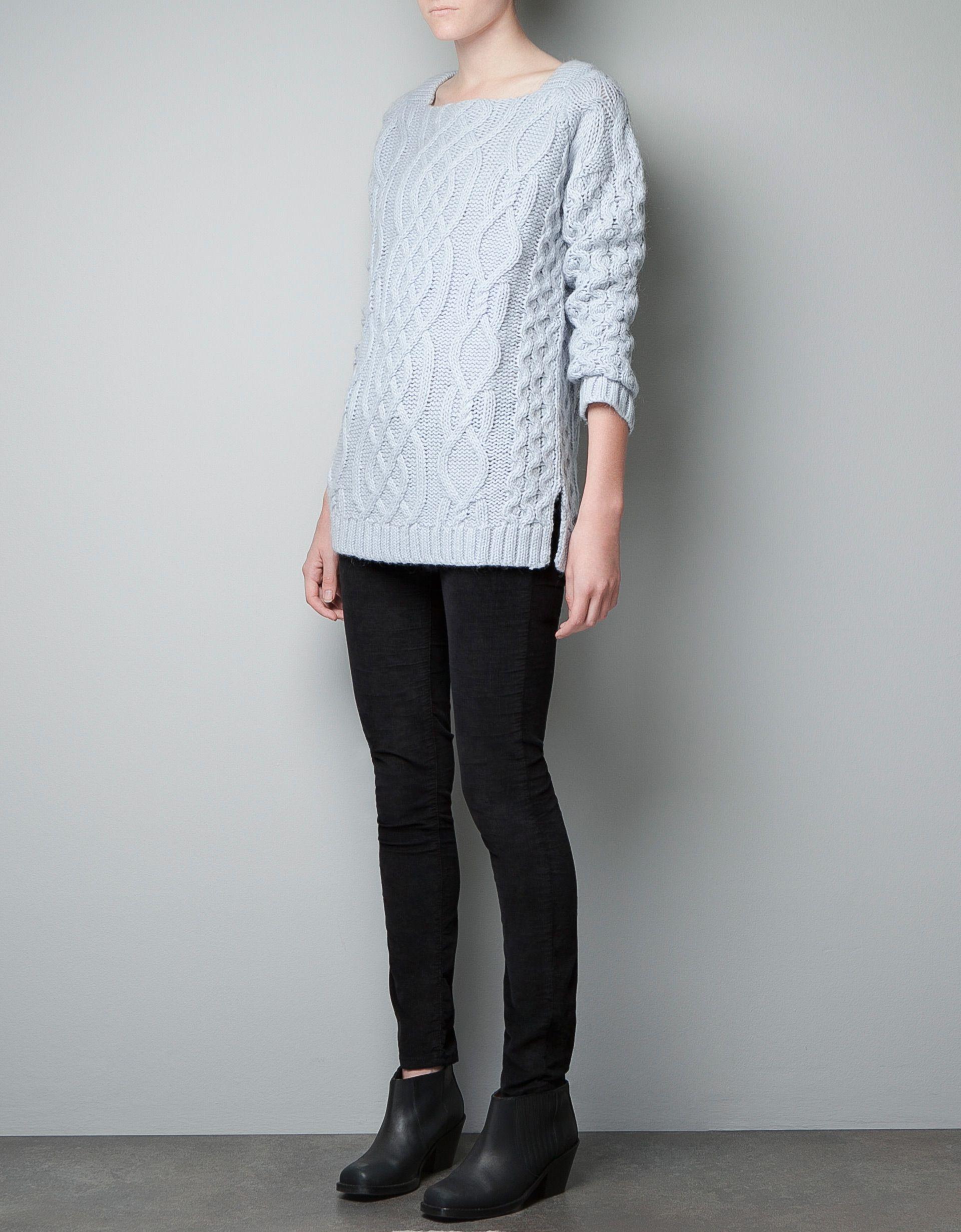 ba00cbde CABLE KNIT SWEATER WITH SIDE SLITS - Knitwear - Woman - ZARA Norway ...