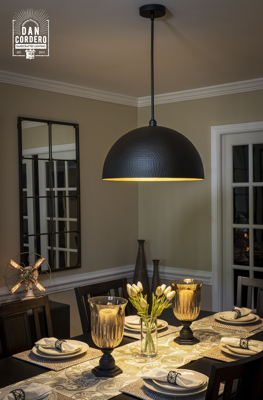 Oversized Hammered Flat Black Pendant Light Fixture Dome Pendant Lighting Black Pendant Light Pendant Lamp Dining Dining room light fixtures