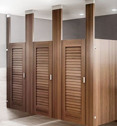 Ironwood manufacturing louvered toilet partition door public janes jons pinterest toilet for Commercial bathroom partition doors