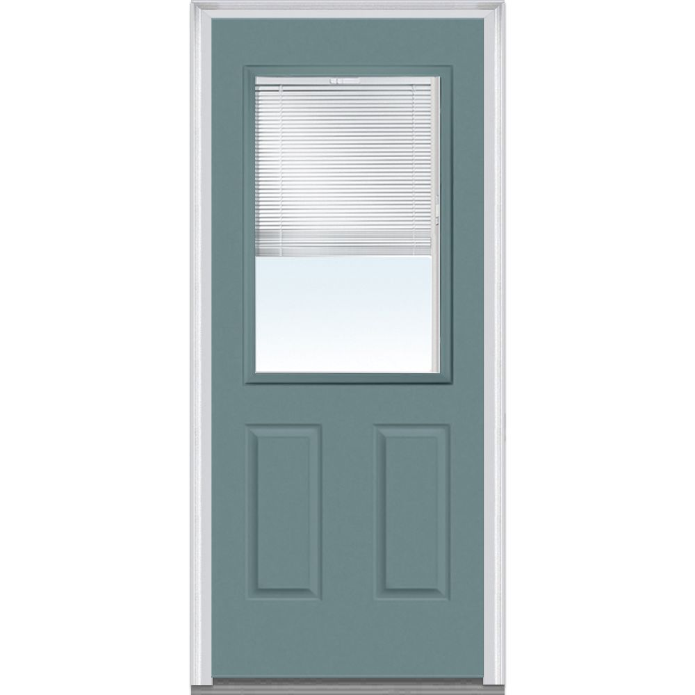 Shown Is An Internal Blinds 12 Lite 2 Panel Entry Door Painted
