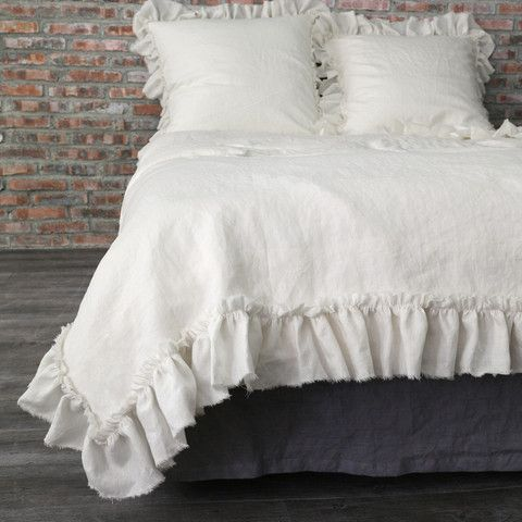 Frayed Ruffles Pure Linen Duvet Cover Chalk Bed Linens Luxury