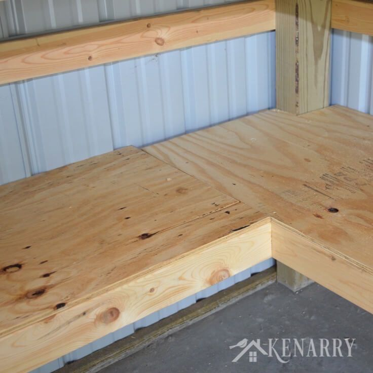 Diy corner shelves for garage or pole barn storage for Alaska garage kits