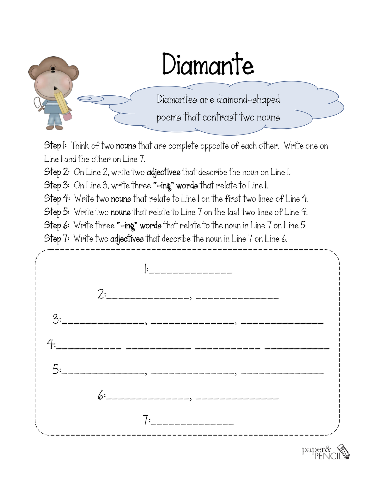 Diamante Poem Printable