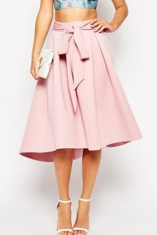 Ruffled Self-Tie Pink Midi Skirt