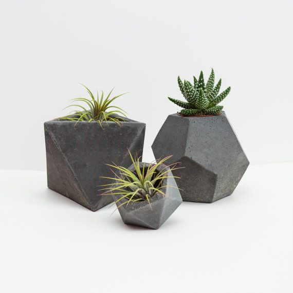 charcoal concrete geometric set of 3 planters    plant pots