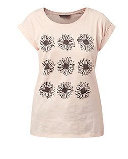 Shell Pink Daisy Roll Sleeve T-Shirt  | New Look