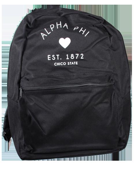 Alpha Phi 1872 Heart Backpack by Adam Block Design | Custom Greek Apparel & Sorority Clothes | www.adamblockdesign.com