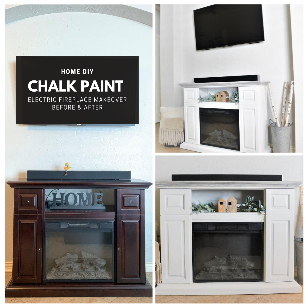 Chalk Paint Electric Fireplace Makeover in 2020 Paint