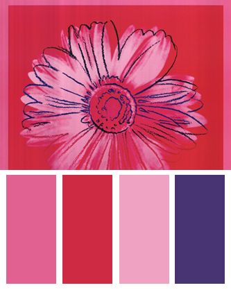 Pink Color Palette inspired by Daisy, c. 1982 (crimson and pink), Art Print by Andy Warhol
