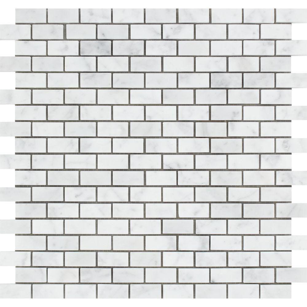 5 8 X 1 1 4 Honed Bianco Carrara Marble Baby Brick Mosaic Tile Mosaic Tiles Marble Mosaic Tiles Stone Mosaic Tile