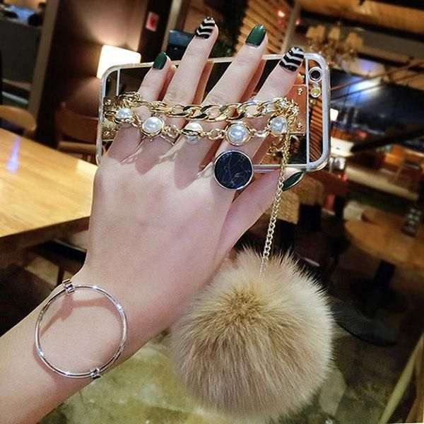 Ultra Thin mirror case with pearl and fur ball