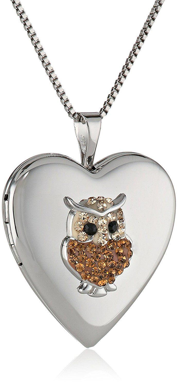 Sterling Silver and Swarovski Elements Heart Locket Necklace, 18' *** Be sure to check out this awesome product.