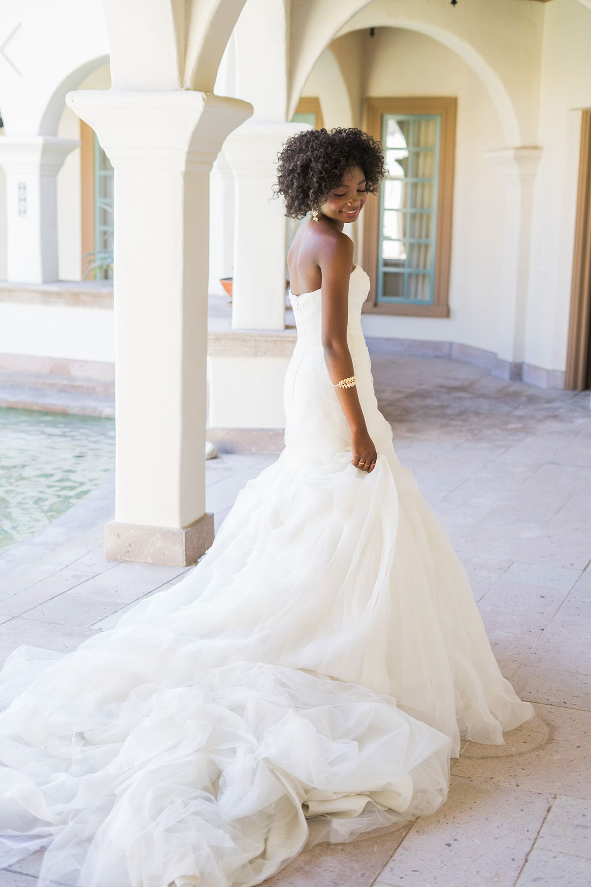 c1da1f7650c8 White by Vera Wang trumpet wedding dress is handcrafted with over 70 yards  of bias-cut organza tiers. #weddingdress #affiliatelink