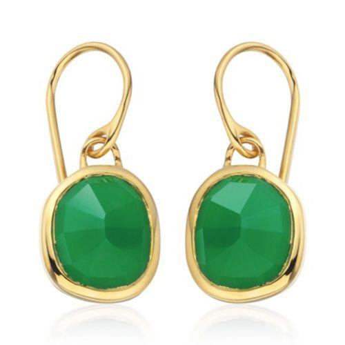 Siren Green Onyx Cocktail Earrings, Gold Vermeil on Silver Monica Vinader